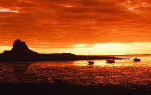 Dawn Over Lindisfarne Castle on Holy Isle Northum.